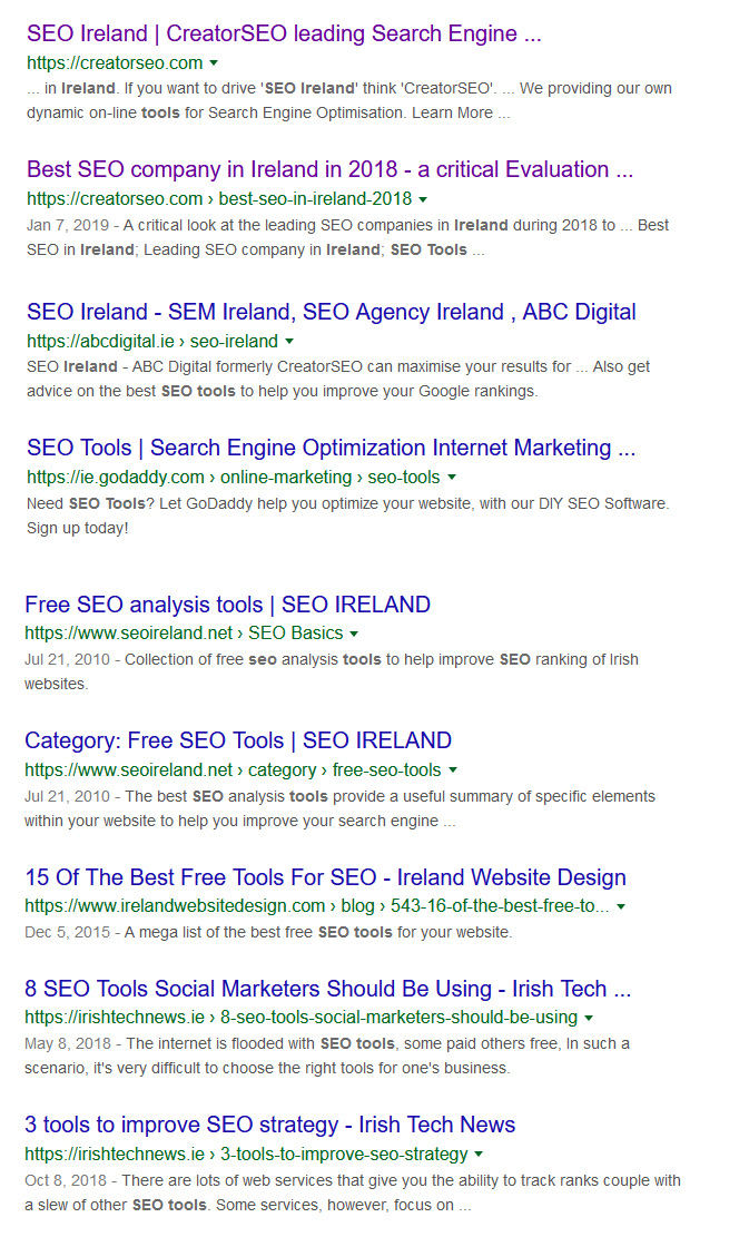 Search on SEO Ireland
