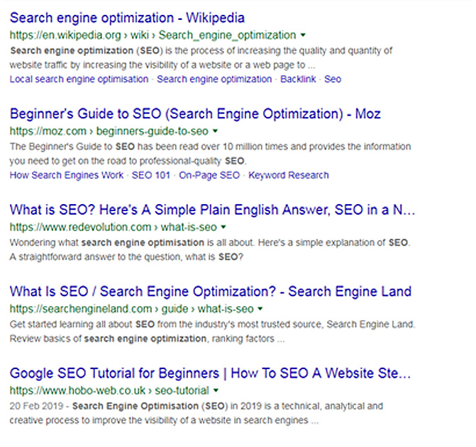 Google Search on Search Engine Optimisation